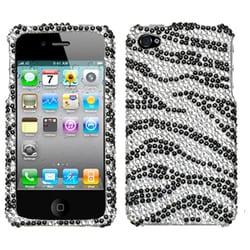 INSTEN Black Zebra Skin/ Crystal Diamante Phone Case Cover for Apple iPhone 4S/ 4