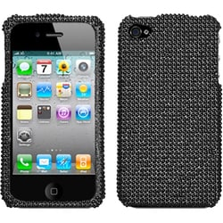 INSTEN Black/ Diamante Phone Case Cover for Apple iPhone 4S/ 4