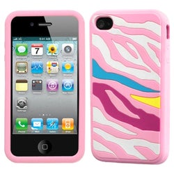 INSTEN Rainbow Zebra/ Pink Pastel Skin Phone Case Cover for Apple iPhone 4S/ 4