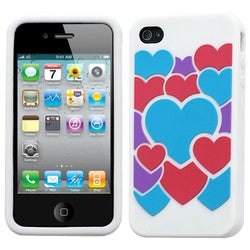 INSTEN Colorful Love / White Pastel Skin Phone Case Cover for Apple iPhone 4S/ 4