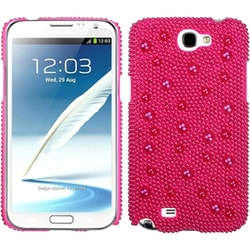 INSTEN Hot Pink Pearl Diamante Back Phone Case Cover for Samsung Galaxy Note II