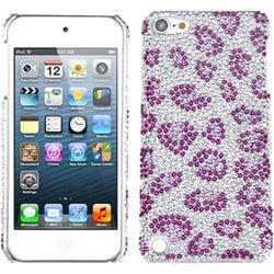 Insten Purple/ Silver Leopard Hard Snap-on Rhinestone Bling Case Cover For Apple iPod Touch 5th/ 6th Gen