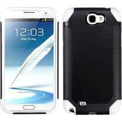 INSTEN Black/ White Frosted Phone Case Cover for Samsung Galaxy Note II T889/ I605