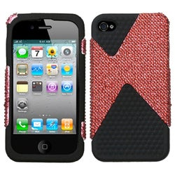 INSTEN Red Diamond/ Black Diamond Dual Phone Case Cover for Apple iPhone 4S/ 4