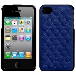 INSTEN Quilted Dark Blue Executive Phone Case Cover for Apple iPhone 4S/ 4