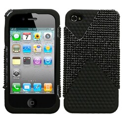 INSTEN Black Diamond/ Black Diamond Veins Phone Case Cover for Apple iPhone 4S/ 4