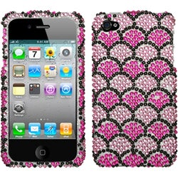 INSTEN Hot Pink/ Wavelet/ Diamante Phone Case Cover for Apple iPhone 4S/ 4