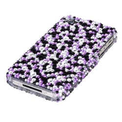 INSTEN Purple/ Silver Stardust Diamante Phone Case Cover for Apple iPhone 4S/ 4