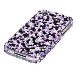 INSTEN Purple/ Silver Stardust Diamante Phone Case Cover for Apple iPhone 4S/ 4