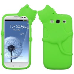 INSTEN Green Cat/ Peeking Pets Skin Phone Case Cover for Samsung Galaxy S III