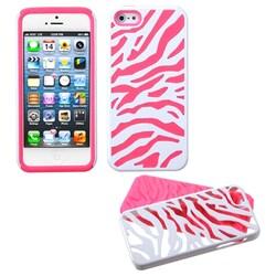 INSTEN Ivory White Zebra Skin/ Pink Fusion Phone Case for Apple iPhone 5 / 5S / SE