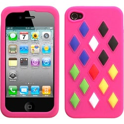 INSTEN Hot Pink/ Module Skin Phone Case Cover for Apple iPhone 4S/ 4