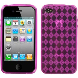 INSTEN Hot Pink/ Argyle Pane Fragrance Phone Case Cover for Apple iPhone 4S/ 4