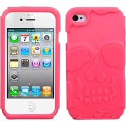 INSTEN Electric Pink/ Skullcap Base Hybrid Phone Case Cover for Apple iPhone 4S/ 4