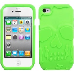 INSTEN Electric Green/ Skullcap Hybrid Phone Case Cover for Apple iPhone 4S/ 4