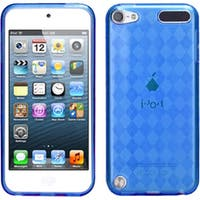 Insten Blue Clear Argyle TPU Rubber Candy Skin Glossy Case Cover For Apple iPod Touch 5th/ 6th Gen
