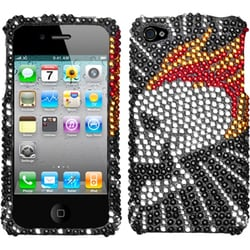 INSTEN Flame Skull Diamante Protector Phone Case Cover for Apple iPhone 4/ 4S