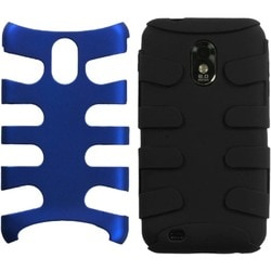 INSTEN Dark Blue/ Black Fishbone Phone Case Cover for Samsung D710 Epic 4G Touch