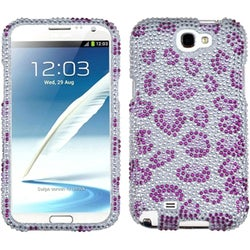 INSTEN Purple Leopard Skin Diamante Phone Case Cover for Samsung Galaxy Note II
