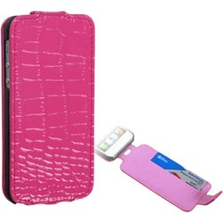 INSTEN Hot Pink Crocodile Skin Wallet for Apple iPhone 5/ 5S/ SE