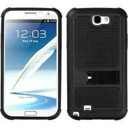 INSTEN Black Phone Case Cover with Stand for Samsung Galaxy Note II/ 2 N7100