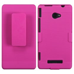 INSTEN Rubberized Hot Pink Hybrid Holster for HTC Windows 8X