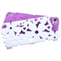 Insten Purple/ White Flowerpower Hard PC/ Silicone Hybrid Rubberized Matte Case Cover For Apple iPod Touch 5th/ 6th Gen