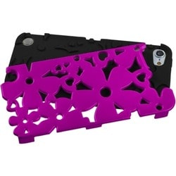 Insten Black/ Hot Pink Flowerpower Hard PC/ Silicone Hybrid Rubberized Matte Case Cover For Apple iPod Touch 5th/ 6th Gen