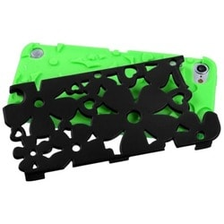 Insten Green/ Black Flowerpower Hard PC/ Silicone Hybrid Rubberized Matte Case Cover For Apple iPod Touch 5th/ 6th Gen
