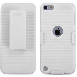 Insten White Hard Snap-on Rubberized Matte Case Cover with Holster For Apple iPod Touch 5th/ 6th Gen
