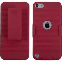 Insten Red Hard Snap-on Rubberized Matte Case Cover with Holster For Apple iPod Touch 5th/ 6th Gen