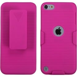 Insten Pink Hard Snap-on Rubberized Matte Case Cover with Holster For Apple iPod Touch 5th/ 6th Gen