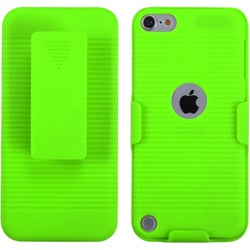 Insten Green Hard Snap-on Rubberized Matte Case Cover with Holster For Apple iPod Touch 5th/ 6th Gen