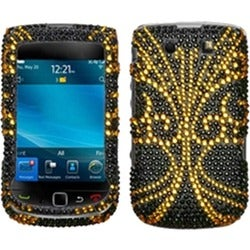 INSTEN Golden Butterfly Phone Case Cover for Blackberry Torch 9800/ 9810 4G