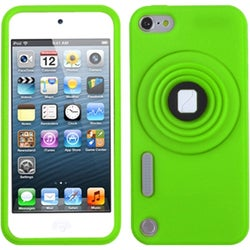 Insten Green 3D Camera Style Soft Silicone Skin Rubber Case Cover Lanyard with Stand For Apple iPod Touch 5th/ 6th Gen