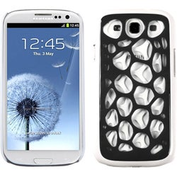 INSTEN Black/ White/ Mesh Hard Plastic Phone Case Cover for Samsung Galaxy S3/ III i9300