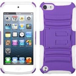 Insten Purple/ White Advanced Armor Hard PC/ Silicone Hybrid Case Cover with Stand For Apple iPod Touch 5th/ 6th Gen