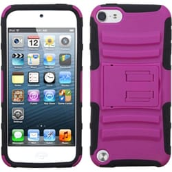 Insten Hot Pink/ Black Advanced Armor Hard PC/ Silicone Hybrid Case Cover with Stand For Apple iPod Touch 5th/ 6th Gen