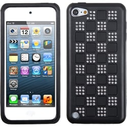 Insten Black Checker Hard PC/ Silicone Dual Layer Hybrid Diamond Bling Case Cover For Apple iPod Touch 5th/ 6th Gen