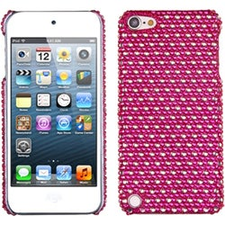 Insten Hot Pink/ White Dots Hard Snap-on Rhinestone Bling Case Cover For Apple iPod Touch 5th/ 6th Gen