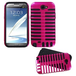 INSTEN Hot Pink/ Black Phone Case Cover for Samsung Galaxy Note II T889/ I605