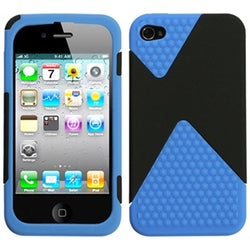 INSTEN Black/ Dark Blue Diamond Veins Dual Phone Case Cover for Apple iPhone 4S/ 4