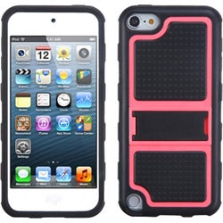 Insten Black/ Hot Pink Gummy Hard PC/ Silicone Case Cover with Stand For Apple iPod Touch 5th/ 6th Gen