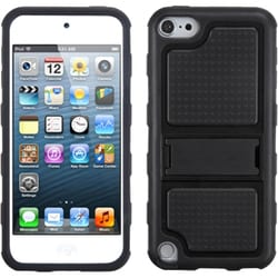 Insten Black Gummy Hard PC/ Silicone Case Cover with Stand For Apple iPod Touch 5th/ 6th Gen