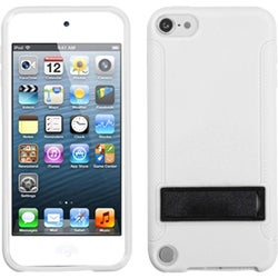 Insten White/ Black Hard Snap-on Case Cover with Stand For Apple iPod Touch 5th/ 6th Gen