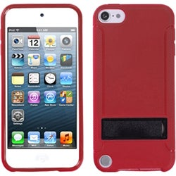 Insten Red/ Black Hard Snap-on Case Cover with Stand For Apple iPod Touch 5th/ 6th Gen