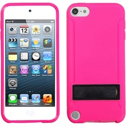 Insten Pink/ Black Hard Snap-on Case Cover with Stand For Apple iPod Touch 5th/ 6th Gen