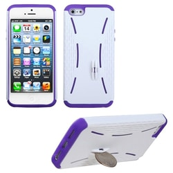 INSTEN Ivory White/ Purple Quarter Stand Phone Case for Apple iPhone 5 / 5S / SE