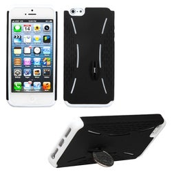INSTEN Black/ Solid White Quarter Stand Fusion Phone Case for Apple iPhone 5/ 5S/ SE