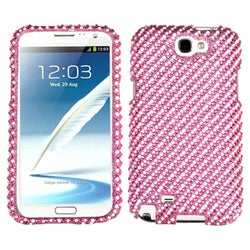 INSTEN Stripe White/ Pink Diamante Phone Case Cover for Samsung Galaxy Note II